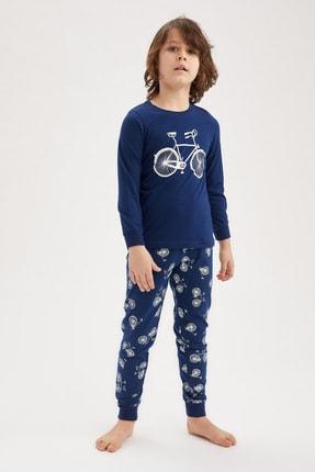 Defacto Erkek Çocuk Bisiklet Basklı Pijama Takımı 1