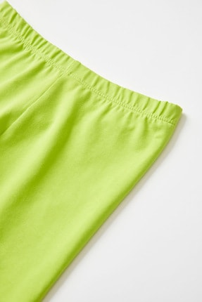 Defacto Kız Çocuk Yeşil Slim Fit Kapri Boy Tayt 2