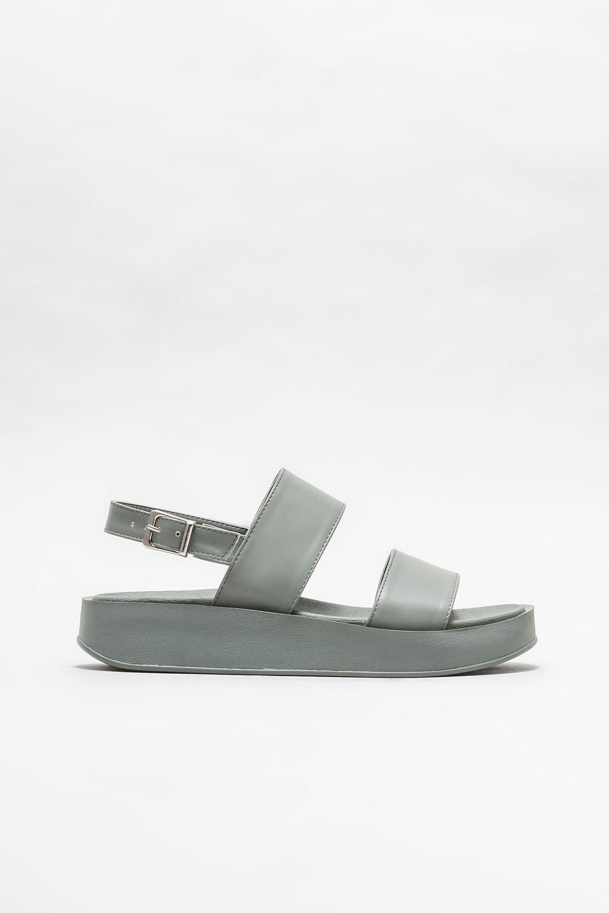 Gri Kadın Dolgu Topuklu Sandalet
