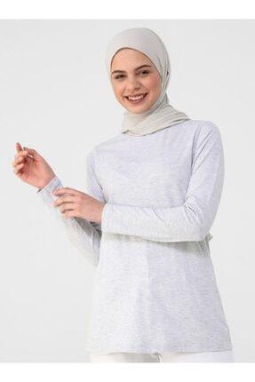 Refka Kadın Gümüş Uzun Kollu Pamuk Kumaşlı Basic T-Shirt 0