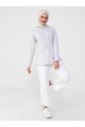 Refka Kadın Gümüş Uzun Kollu Pamuk Kumaşlı Basic T-Shirt 1
