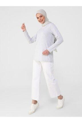 Refka Kadın Gümüş Uzun Kollu Pamuk Kumaşlı Basic T-Shirt 3