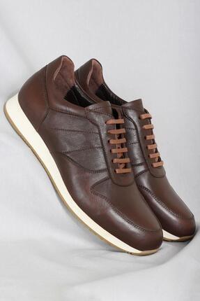 CZ London Erkek Kahverengi Hakiki Deri Sneaker Spor Ayakkabı 0
