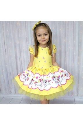 Riccotarz Kız Çocuk Unicorn Pony Omuz Tüylü Sarı Elbise 0
