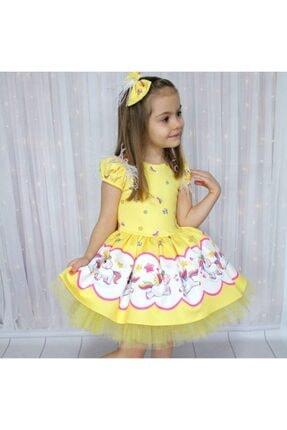 Riccotarz Kız Çocuk Unicorn Pony Omuz Tüylü Sarı Elbise 1