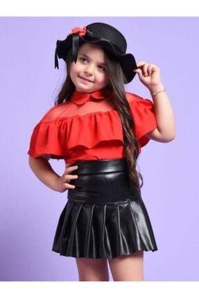 Riccotarz Kız Çocuk Şapkalı Kırmızı-siyah Deri Etekli Takım 0