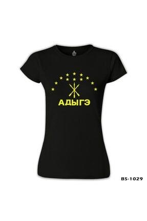 Lord T-Shirt Kadın Siyah Adige Bayrağı Kafkasya Çerkes Tshirt BS-1029 1