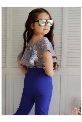 Riccotarz Kız Çocuk Güpürlü Ispanyol Paça Mavi Alt Üst Takım 2