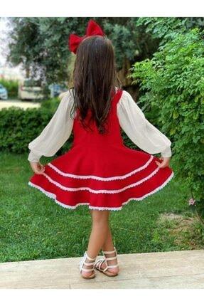 Riccotarz Kız Çocuk Kırmızı Bluzlu Çantalı Elbise 1
