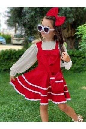 Riccotarz Kız Çocuk Kırmızı Bluzlu Çantalı Elbise 3
