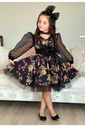 Riccotarz Kız Çocuk Black Flowers Tütülü Elbise 0