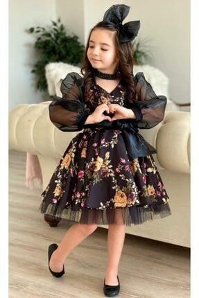 Riccotarz Kız Çocuk Black Flowers Tütülü Elbise 3