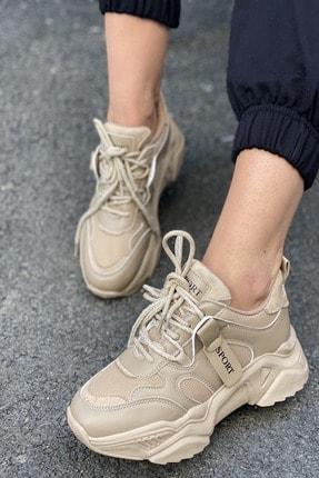 İnan Ayakkabı Kadın Bej Bağcıklı Sneaker 1