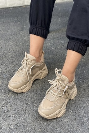 İnan Ayakkabı Kadın Bej Bağcıklı Sneaker 2