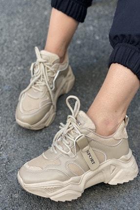 İnan Ayakkabı Kadın Bej Bağcıklı Sneaker 3