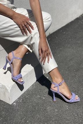 İnan Ayakkabı Kadın Lila Bilekten Tokalı Örgülü Topuklu Ayakkabı 1