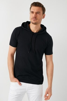 GİYSA Erkek Kapüşonlu Slim Fit Erkek T-shirt 2021 1