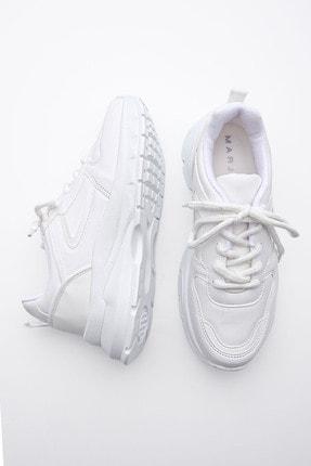 Marjin Kadın Sneaker Dolgu Topuk Spor Ayakkabı Besribeyaz 4