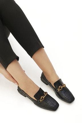 Marjin Kadın Loafer Ayakkabı Alvasiyah Croco 2