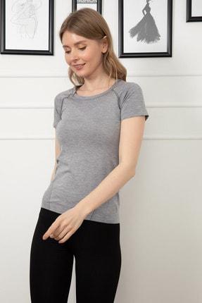 D-Paris Kadın Gri Sporcu T-Shirt 41034744880 4