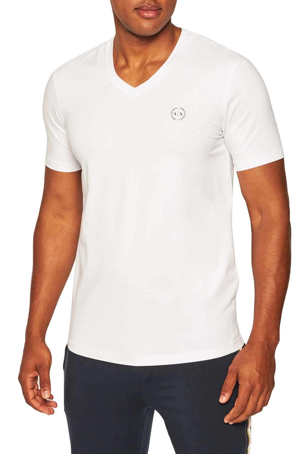 Erkek Beyaz Pamuklu V Yaka Regular Fit T Shirt S 8nzt85 Z8m9z 2181