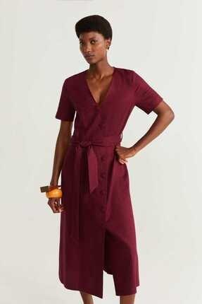Picture of Kadın Şarap Kırmızı Keten Karışımlı Düğmeli Elbise