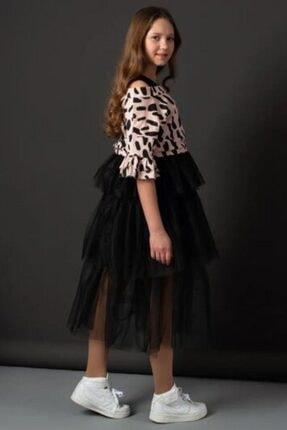Riccotarz Kız Çocuk Pudra Tişörtlü Tüllü Elbise 1