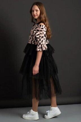 Riccotarz Kız Çocuk Pudra Tişörtlü Tüllü Elbise 3