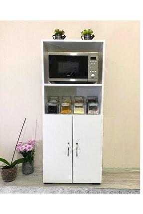IRMAK MOBİLYA Beyaz Bölmeli Mikrodalga Mini Fırın Mutfak Amaçlı Dolap 2 Kapaklı 0