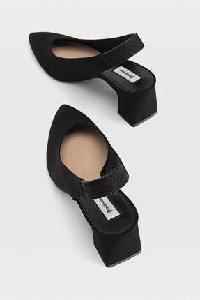 Stradivarius Kadın Siyah Sivri Burunlu Arkası Açık Topuklu Ayakkabı 19150770 4