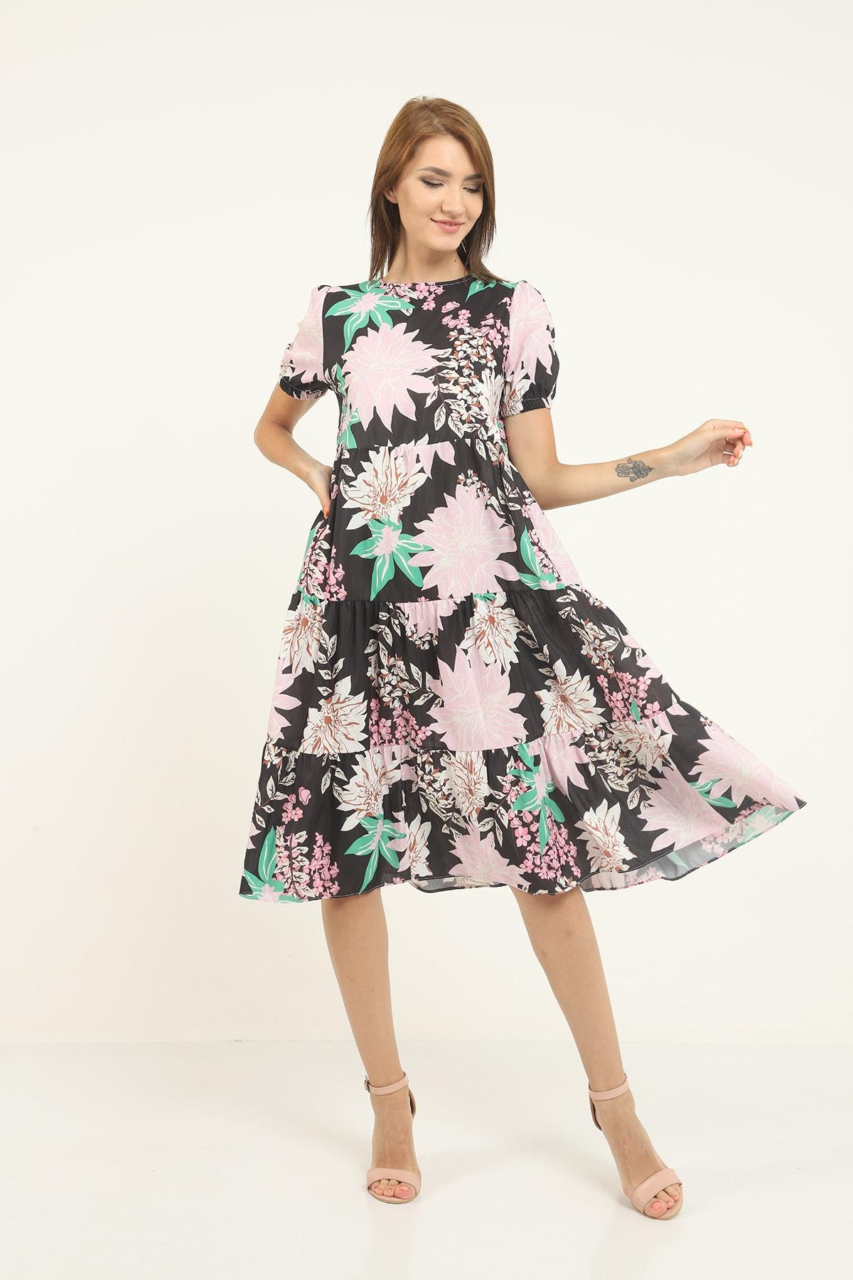 Kadın Çok Renkli Bol Kalıp Elbise