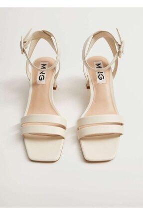Mango Çizgili Topuklu Sandalet 4