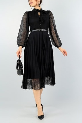 lovebox Pilise Detay Kemerli Tasarım Uzun Kollu Siyah Dantel Abiye Elbise 57834 2