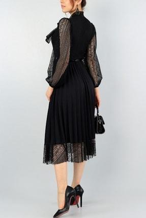 lovebox Pilise Detay Kemerli Tasarım Uzun Kollu Siyah Dantel Abiye Elbise 57834 3