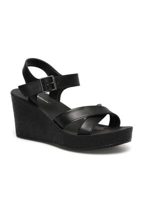 Polaris 317257.Z 1FX Siyah Kadın Dolgu Topuklu Sandalet 101024851 0