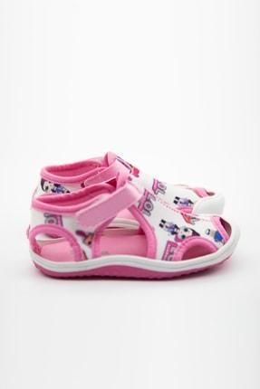 modawars Kız Çocuk Beyaz Pembe Kumaş Sandalet 1