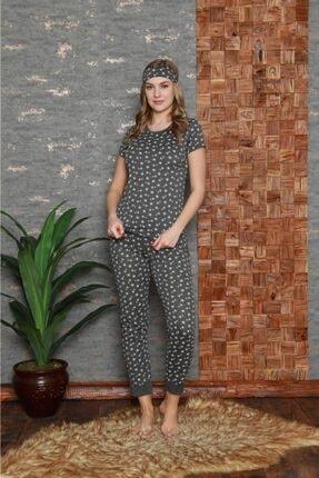 Stil Moda Kadın Antrasit Pamuklu Baskılı Kısa Kol Pijama Takım Stl4242 1