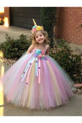 bba new trend Kız Çocuk Çiçekli Tütü Kabarık Elbise Unicorn Elbise 0