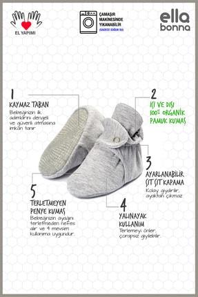 Ella Bonna Organik Pamuk Bebek Patiği, Kaydırmaz Taban, Pamuklu Yenidoğan Pandufu Ev Kreş Ayakkabısı 2