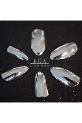 EDA LUXURY BEAUTY Gümüş Metalik Takma Tırnak Lüks Parlak Uzun Oval Almond Stiletto Nail Art Yapıştırıcı Set 0