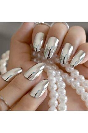 EDA LUXURY BEAUTY Gümüş Metalik Takma Tırnak Lüks Parlak Uzun Oval Almond Stiletto Nail Art Yapıştırıcı Set 2