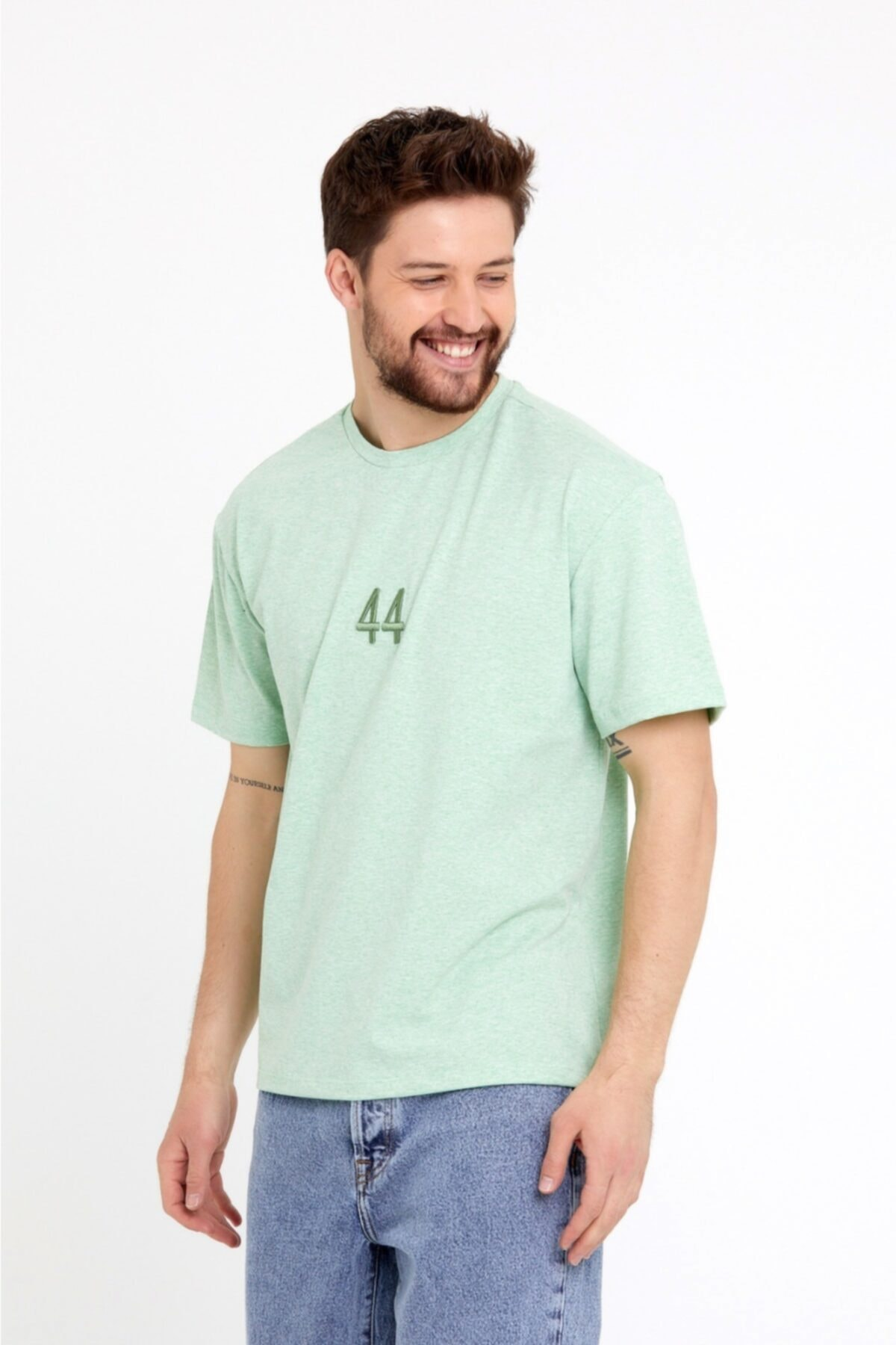 Erkek Yeşil 44 Nakışlı Oversize T-shirt