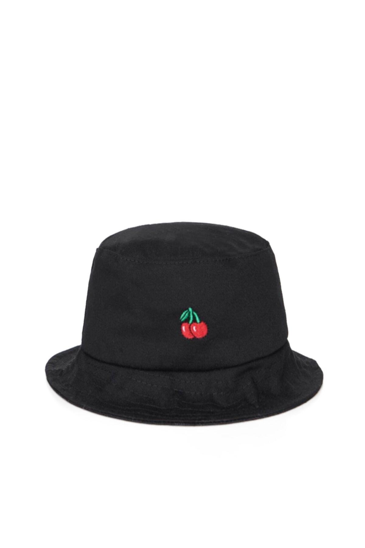 Kırmızı Kiraz Işlemeli Siyah Bucket Balıkçı Şapkası Gc0139kiraz