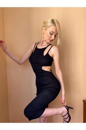 Kadın Siyah Bel Dekolteli Elbise 4003