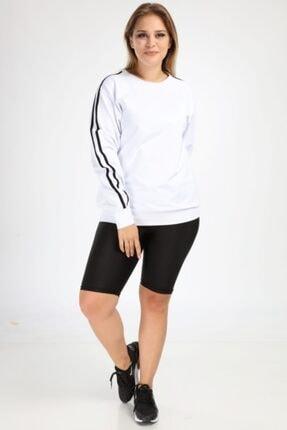 Picture of Kadın Beyaz Büyük Beden Spor Giyim Kolları Şeritli Sweat Üst 2534