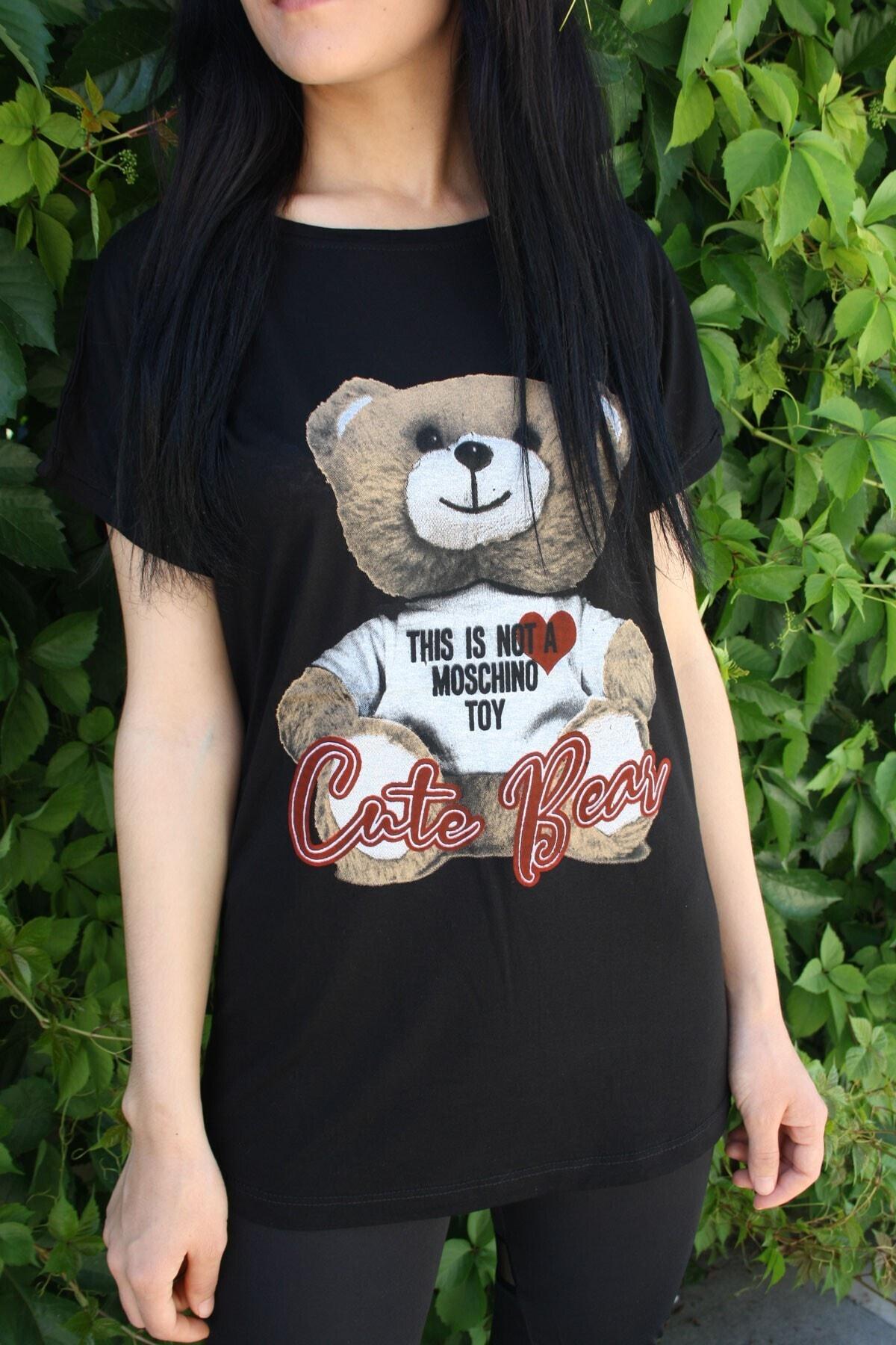 Kadın Siyah Ayıcık Baskılı Salaş T-shirt