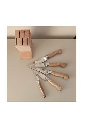 Lazoğlu Sürmene 5'li El Yapımı Profosyonel Mutfak Bıçak Seti Ahşap Kütüklü+bileme Bıçağı+kesme Tahtası 2