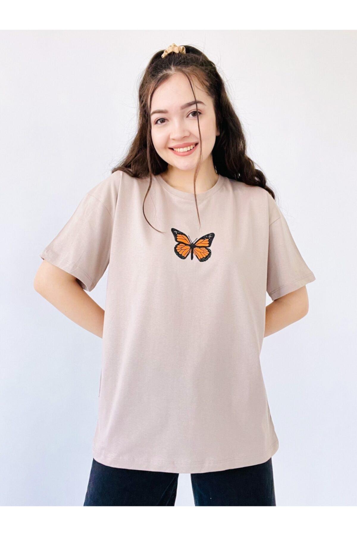 Bej Kelebek Tişört