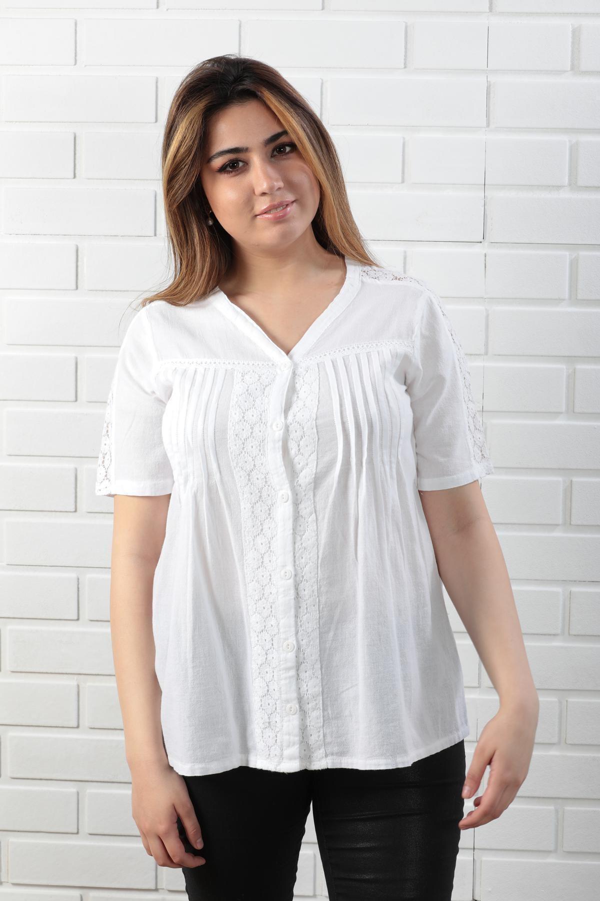 Pamuklu Dantelli Kısa Kollu Beyaz Bluz
