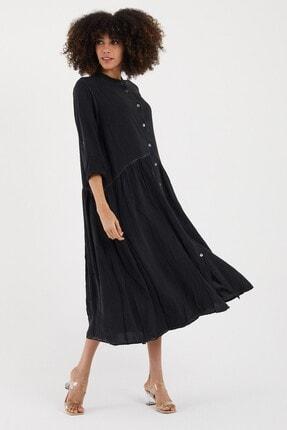 Cotton Mood Kadın Sıyah Yıkamalı Hakim Yaka Düğmeli Salash Uzun Elbise 1